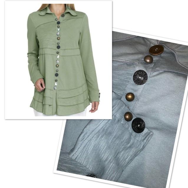 Sage button tunic