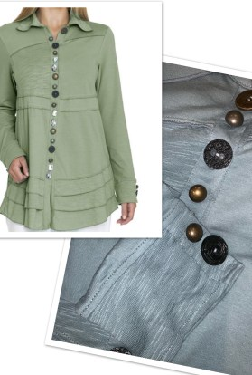 Sage button tunic