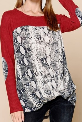 Red snake skin print top plus size