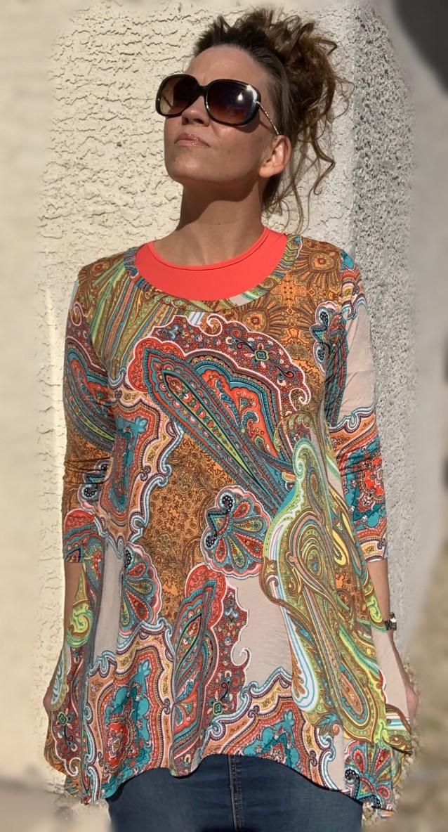 Coral paisley tunic