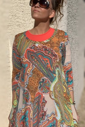 Coral paisley tunic