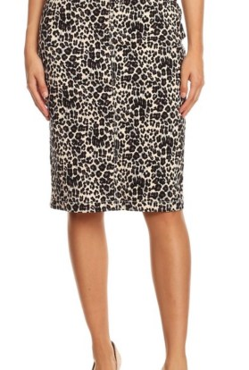 Cheetah denim pencil skirt