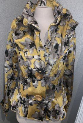 Yellow floral wired collar jacket