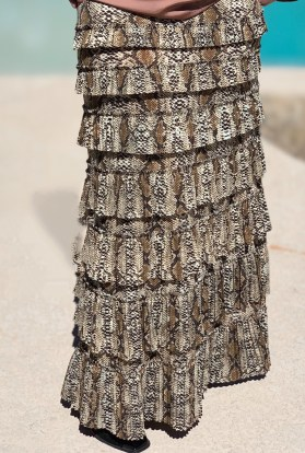 Taupe Snake pleated eleganza skirt