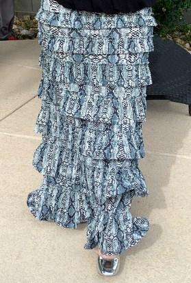 Gray snake ruffle eleganza skirt