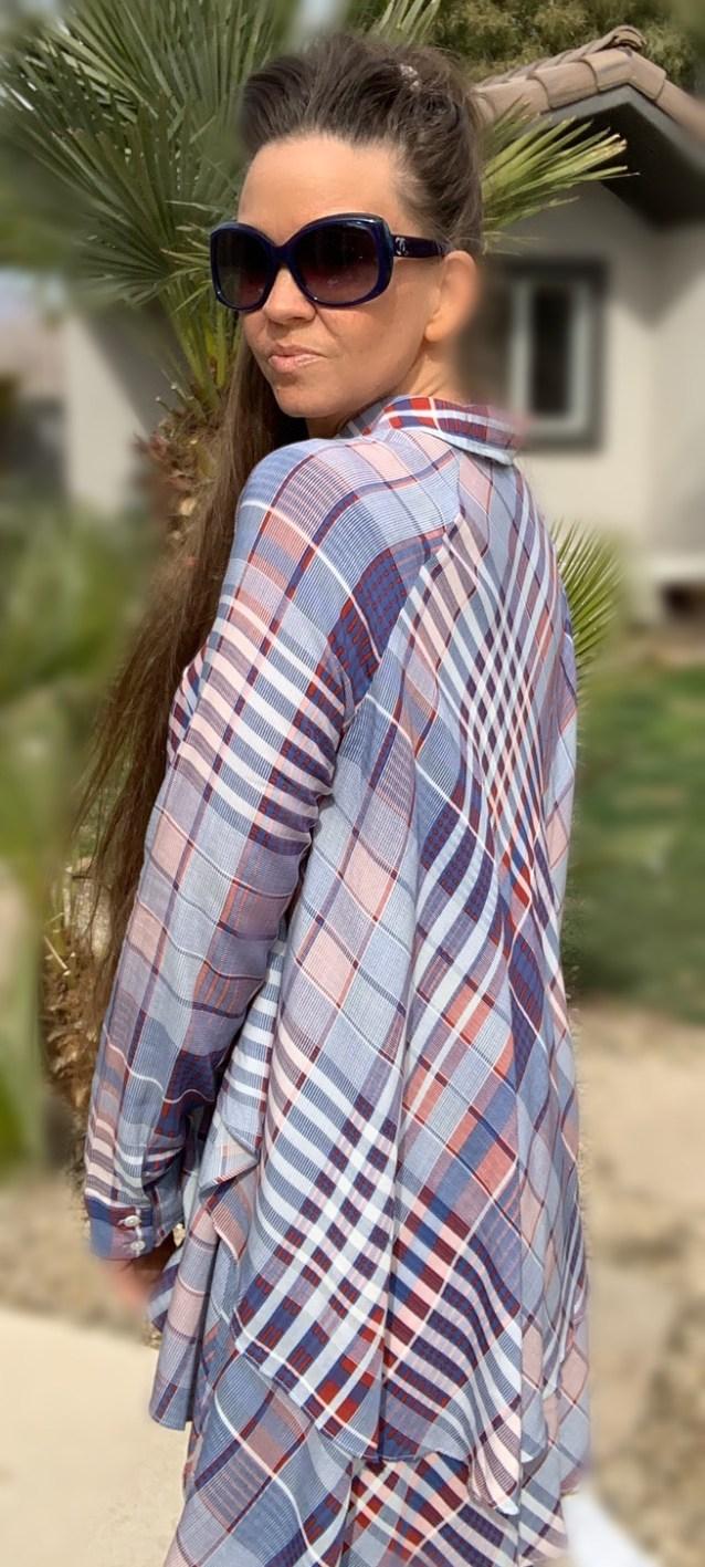 Plaid hi low ruffle button up tunic
