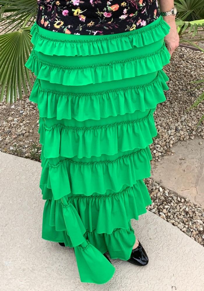 Kelly Green Ruffle Eleganza skirt