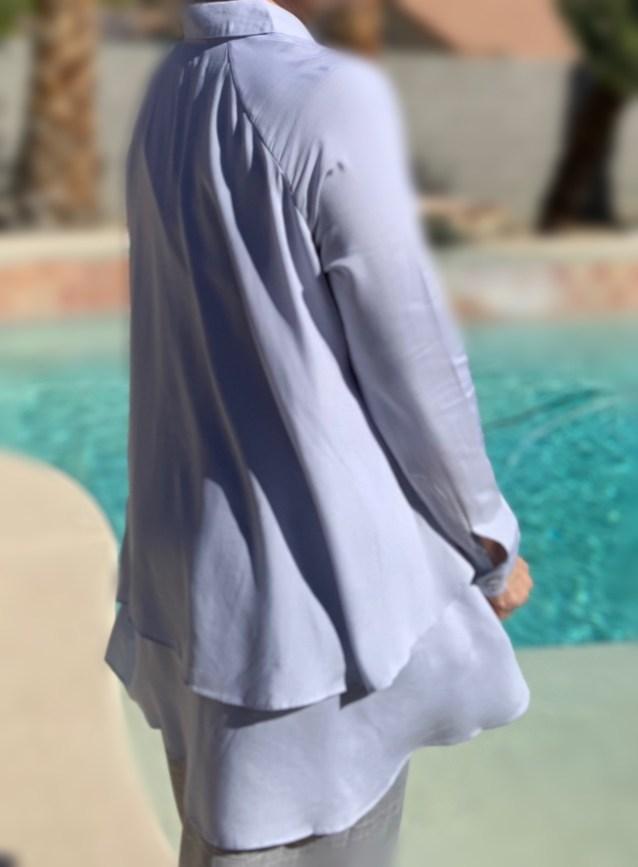 Powder blue high low ruffle button up tunic
