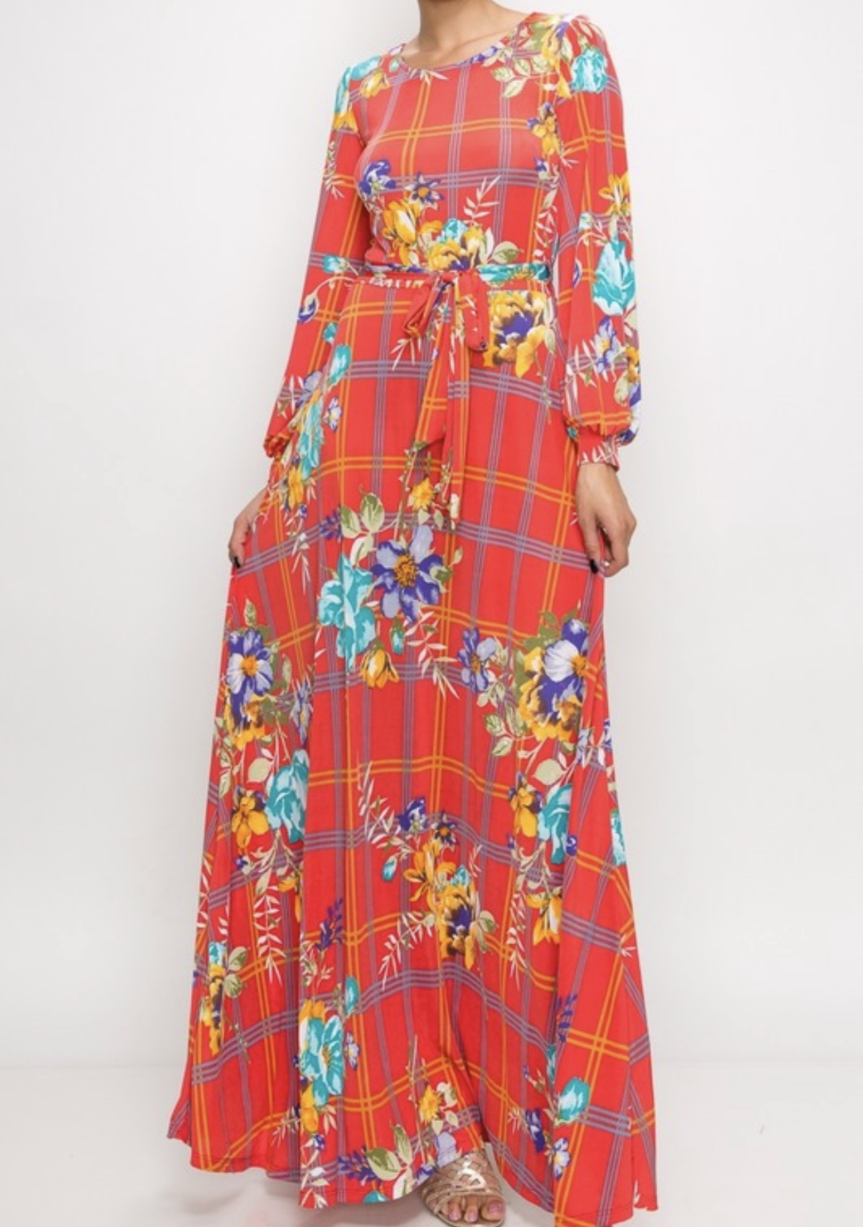 35337eb28529 Coral Window Pane Floral Long Maxi Dress - Shannasthreads