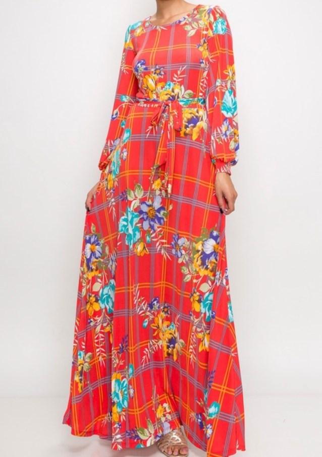 coral window pane floral maxi dress