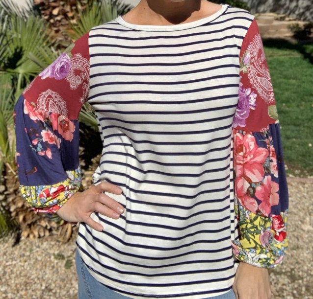 navy stripe contrast sleeve top