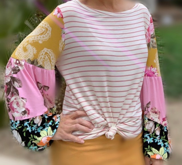 mauve stripe contrast sleeve top