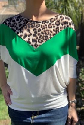 green leopard tee