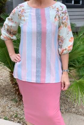 Stripe floral spring blouse