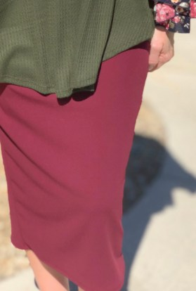 Burgundy modest pencil skirt