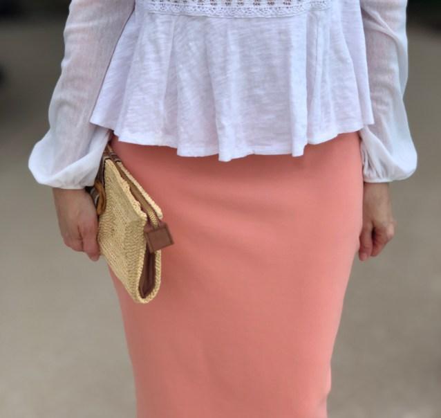 Peach modest pencil skirt