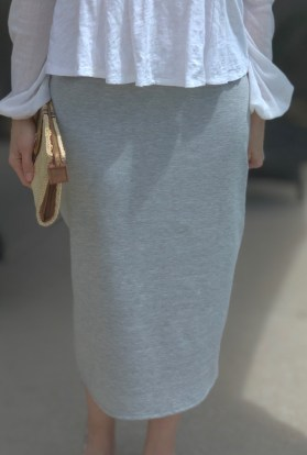 Heather gray modest pencil skirt