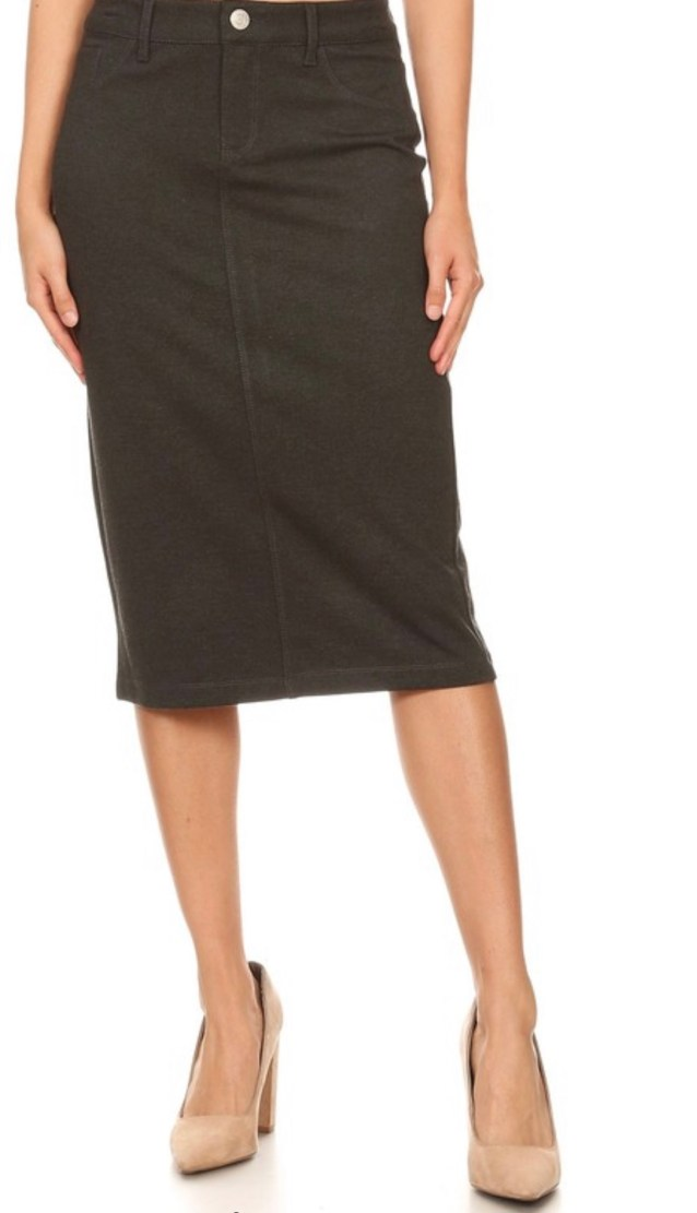 Heather Gray twill stretch pencil skirt