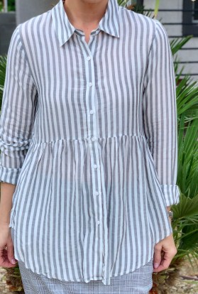 Charcoal stripe high low tunic