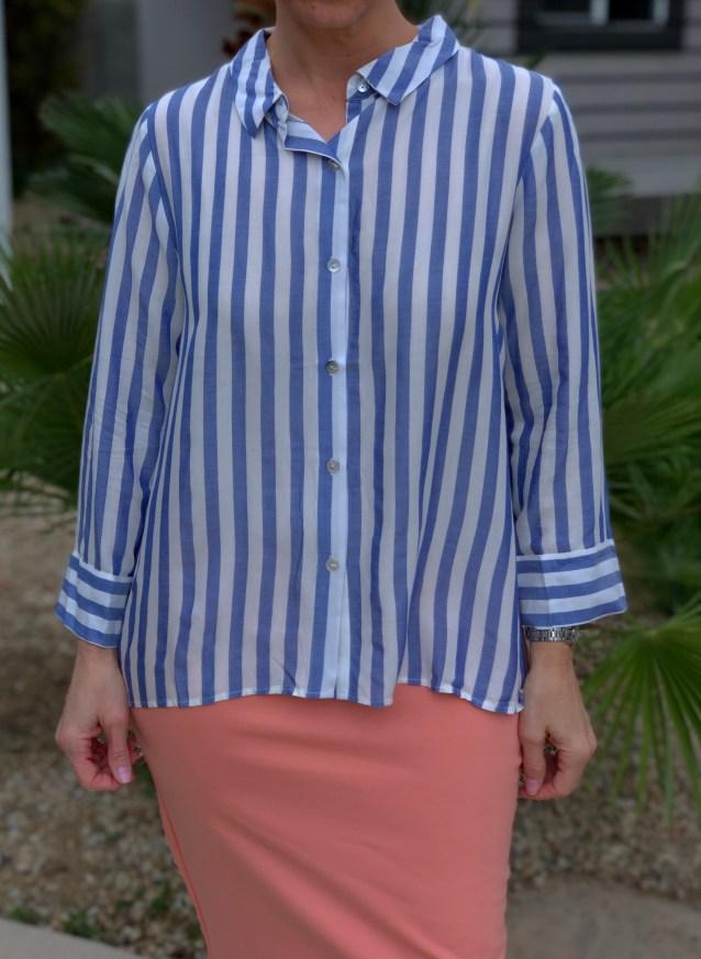Blue stripe button blouse