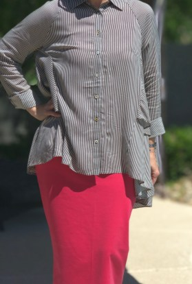 Black stripe high low ruffle button up tunic
