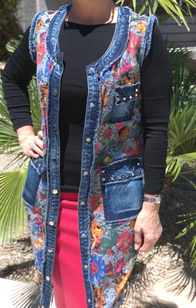 Denim floral button up vest