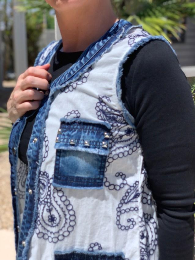 Denim white navy embroidered button up vest