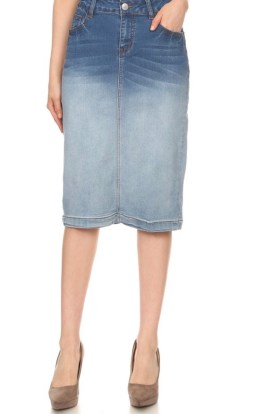 Two tone denim pencil skirt