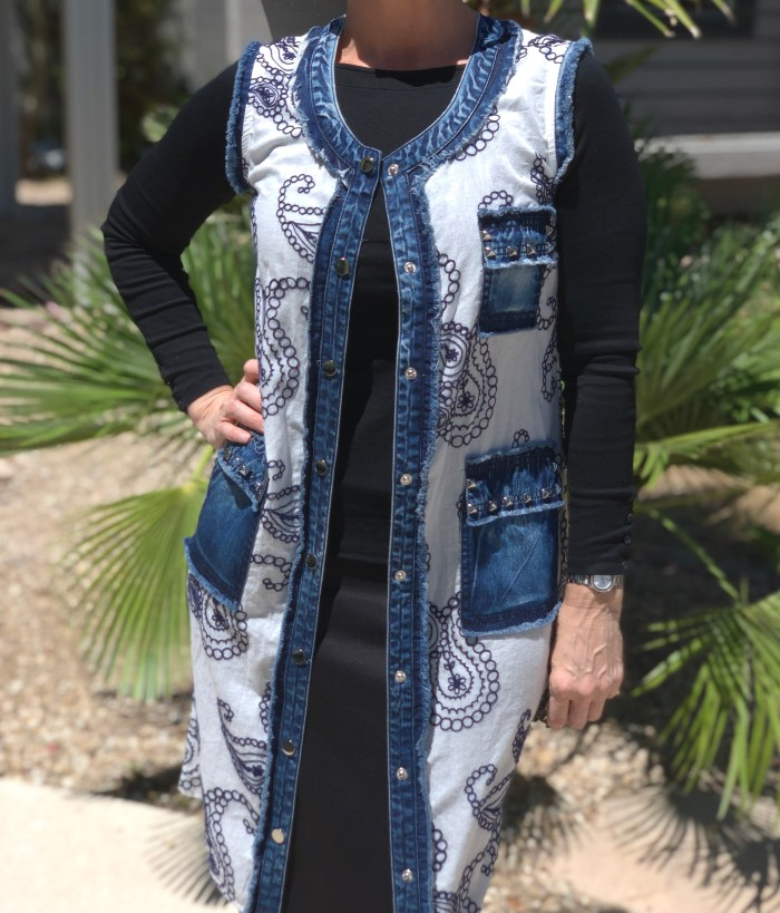 Denim white navy embroidered button up vest