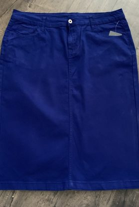 Royal blue twill pencil skirt