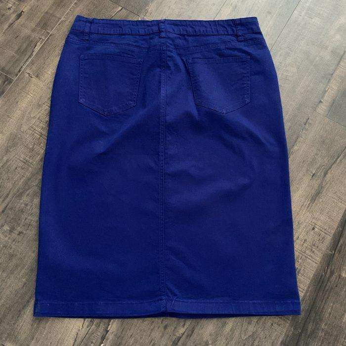 Royal blue twill pencil skirt