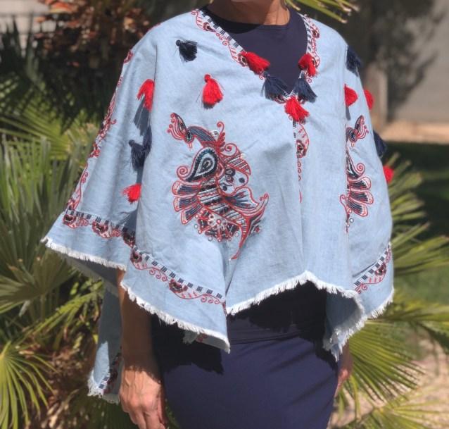 Denim Embroidered tassel poncho