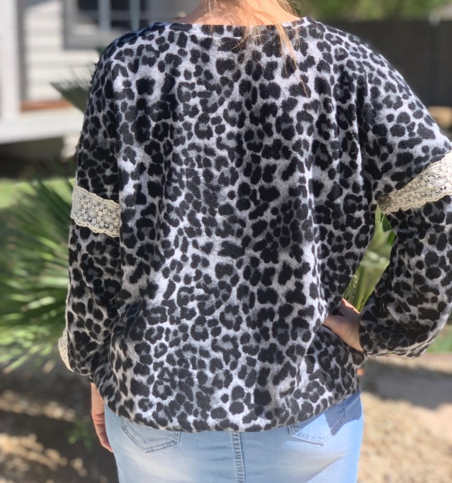 Gray leopard sweater lace tunic