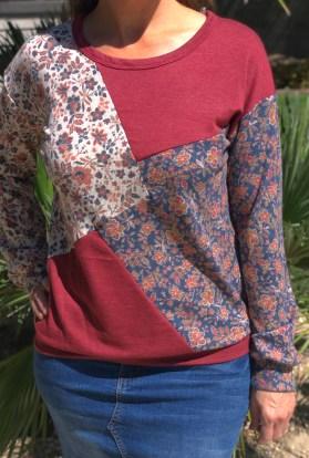 Burgundy patchwork sweater