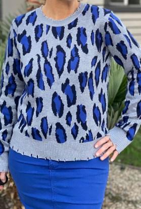 Distressed Blue Leopard Sweater