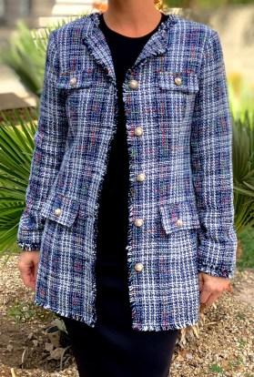 Navy tweed blazer