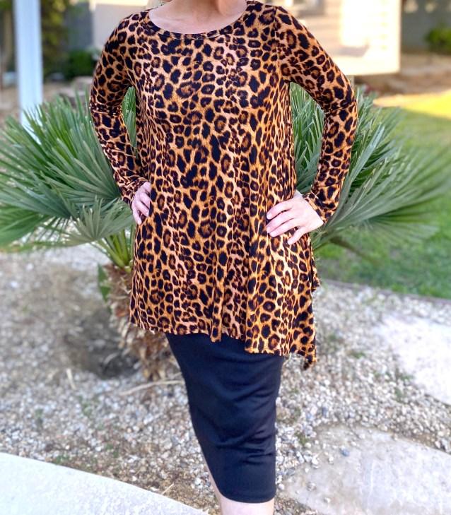 Leopard print sharkbite tunic