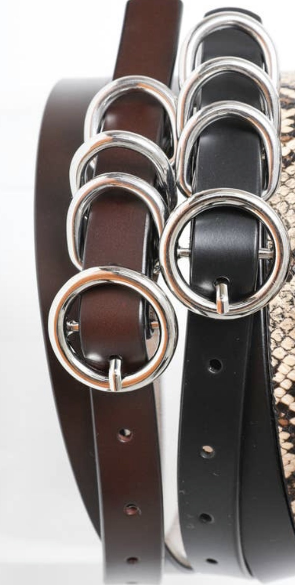 Four Ring Skinny Leather Belt -Brown