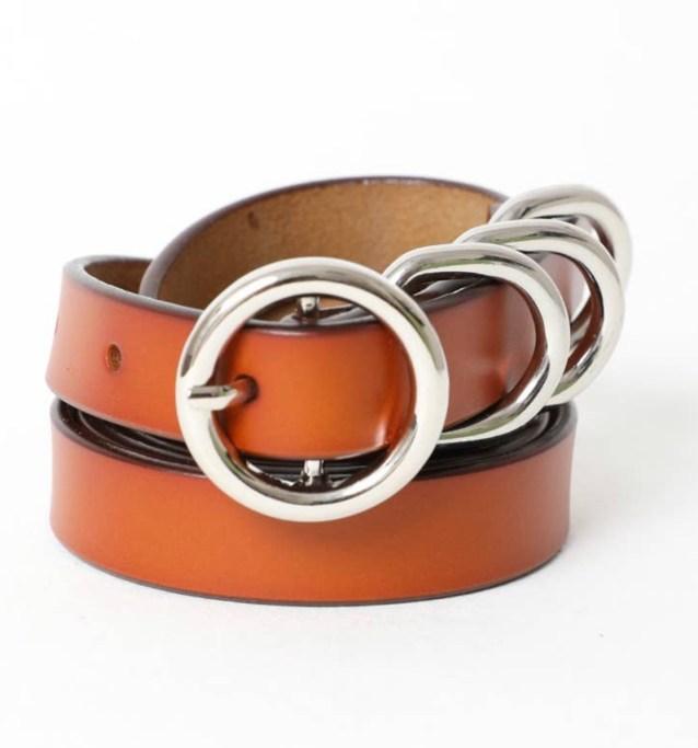 Four Ring Skinny Leather Belt -Camel