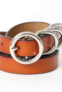 Four Ring Skinny Leather Belt -Camel