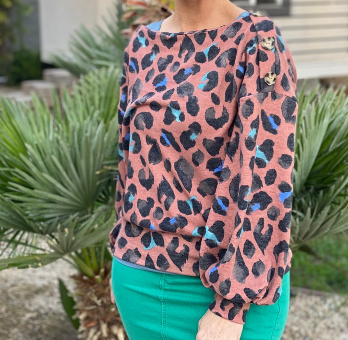 Rust cheetah boatneck with buttons