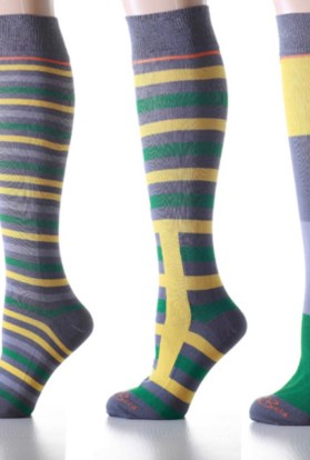 Mismatched Green Knee High Socks