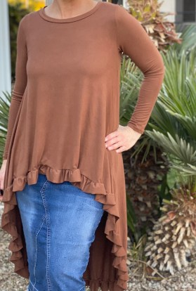 Mocha hi low ruffle tunic