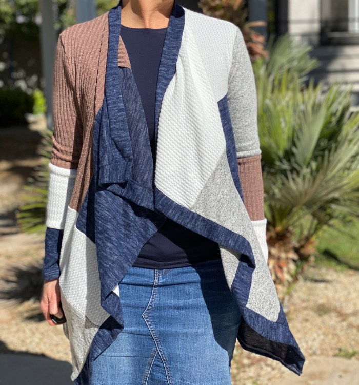 Patchwork Knit Cardigan Sweater