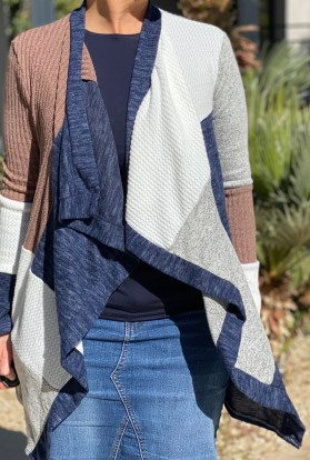 Patchwork Knit Cardigan Sweater