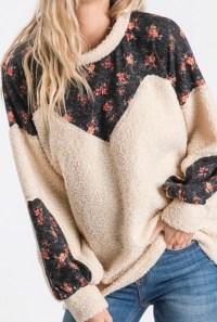 Sherpa teddy floral sweater cream