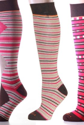 Mismatched Pink Stripes & Argyle Knee High Socks