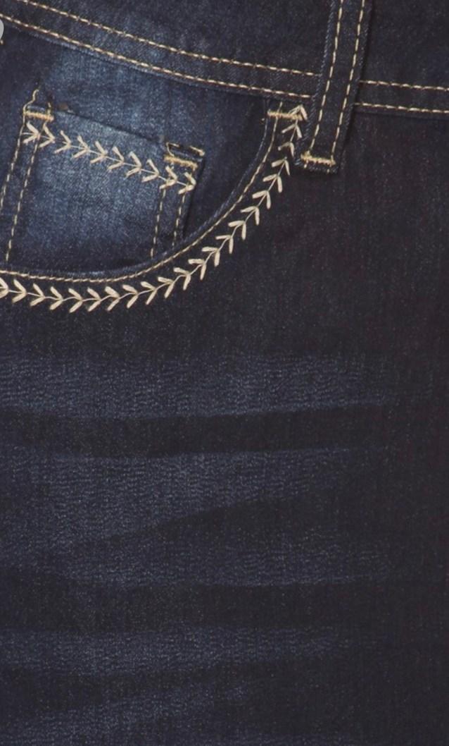 Dark Blue Embroidery Stitch Stretch Denim Skirt