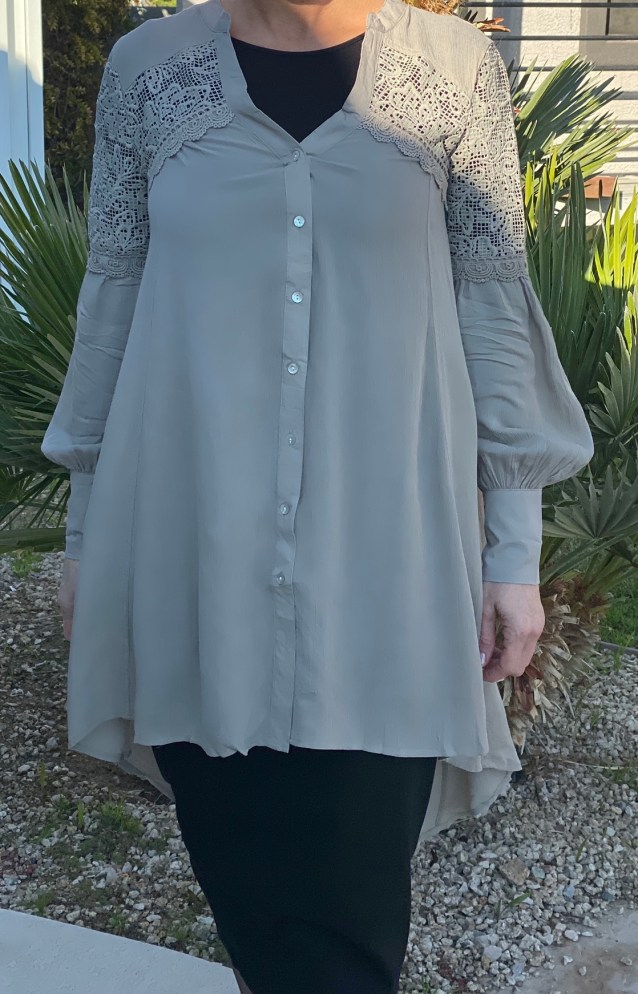 Taupe hi low lace tunic top