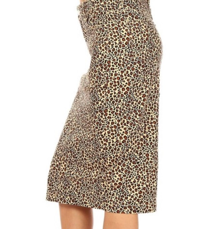 Leopard stretch twill skirt